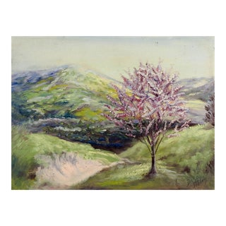 Landscape With Red Bud Tree Painting For Sale