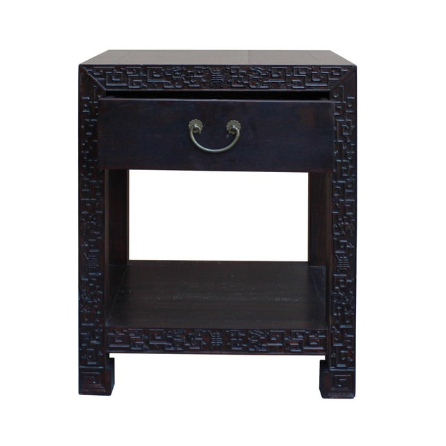 Chinese Oriental Brown Dragon Rim Carving End Table Nightstand For Sale In San Francisco - Image 6 of 7