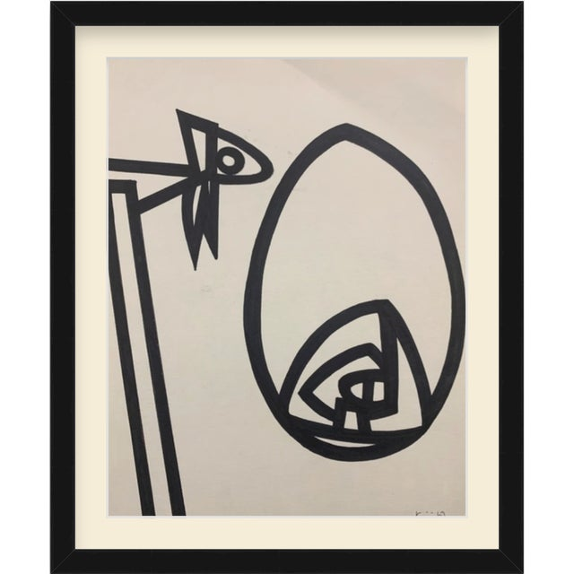 """1960s 1967 Ink Brush """"Abstract 1"""" Drawing Whitney Museum Artist Original Art For Sale - Image 5 of 6"""