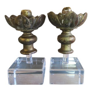 19 C Italian Flower Finials on Lucite Bases - A Pair