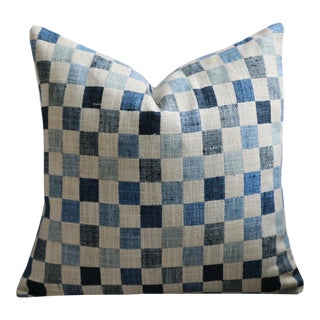 Shades of Blue Patchwork Pillow Cover 22x22 For Sale