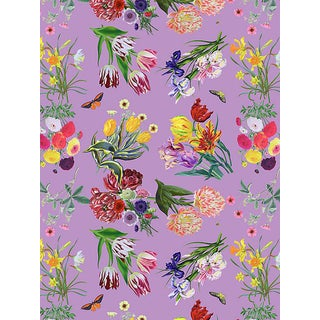 Sample, Scalamandre Nicolette Mayer for Scalamandre Flora & Fauna, Orchid Wallpaper For Sale