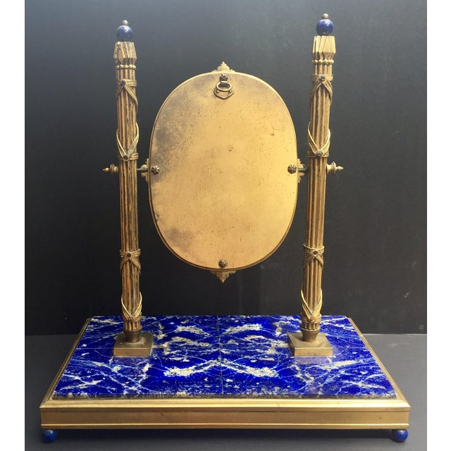19th Century, French Bronze Doré Solid Lapis Lazuli Dressing Table Mirror For Sale In West Palm - Image 6 of 9