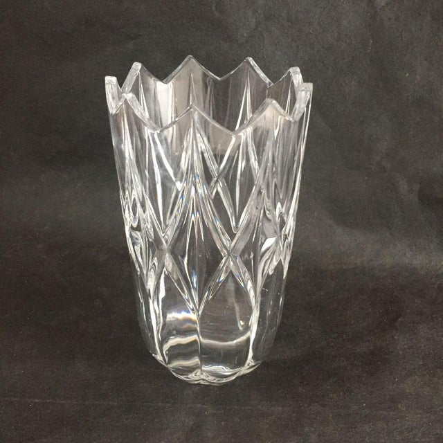 """Vintage Clear Cut Glass, Tulip Shaped Flower Vase, No makers mark Very good condition,minor wear. Dimensions: 4.25""""D X 8""""H"""
