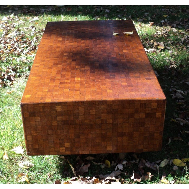 Mid-Century Modern Patchwork Wood Coffee Table - Image 7 of 11