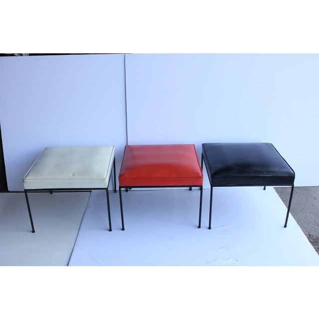 Mid-Century Modern 1950's Vintage Paul McCobb Wrought Iron Base Benches- Set of 3 For Sale - Image 3 of 3