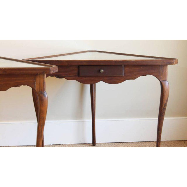 Pair of Mirror Topped Triangular Tables For Sale - Image 10 of 11