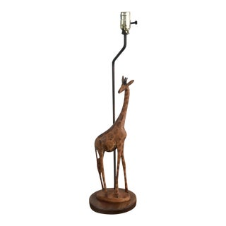 1980s Carved Giraffe Table Lamp For Sale