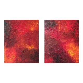 """""""Pooling Infinity #2, 3"""" Diptych Original Abstract Oil Paintings on Canvas by Tim Hovde - a Pair For Sale"""