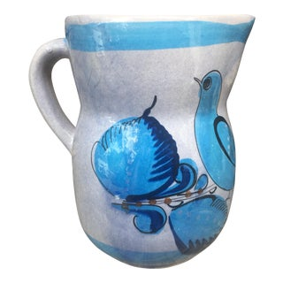 Mexican Hand-Painted Tonala Pottery Large Pitcher