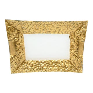 Gold Gilt Glass Serving Tray for Barware or Vanity Display For Sale