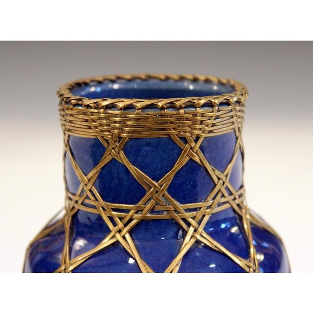 Antique Awaji Pottery Japanese Arts & Crafts Cup Brush Pot Jar Bronze Weave For Sale - Image 10 of 12