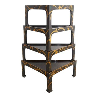 Nest of Four Chinoiserie Lacquered Stacking Tray Tables For Sale