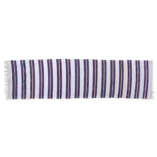 Swedish Handwoven Purple & White Rug - 2′9″ × 10′5″
