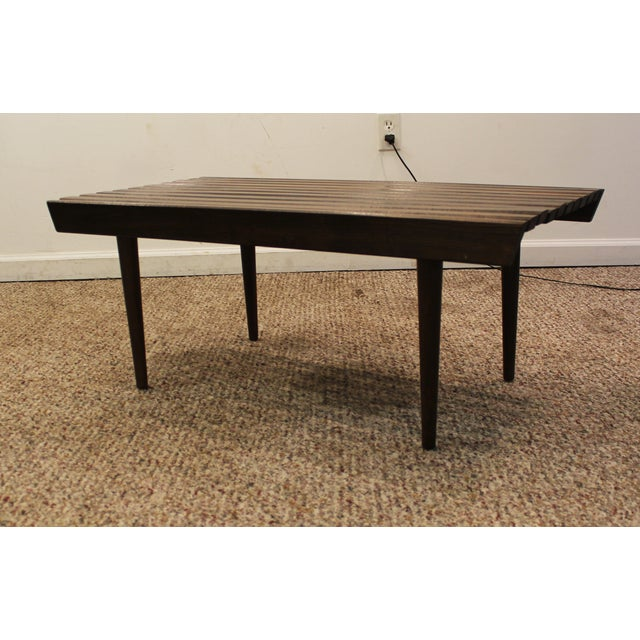 Mid Century Danish Modern Walnut Slat Bench/Coffee Table - Image 5 of 11