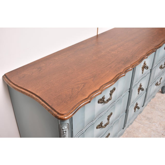 French Provincial Nine Drawer Triple Dresser For Sale - Image 4 of 13