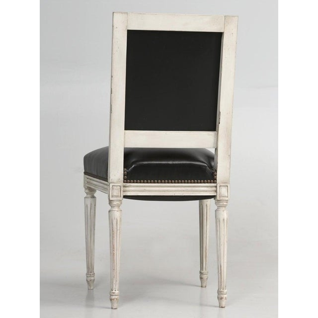 8 Painted French Louis XVI Dining Chairs W/ Leather For Sale - Image 11 of 13
