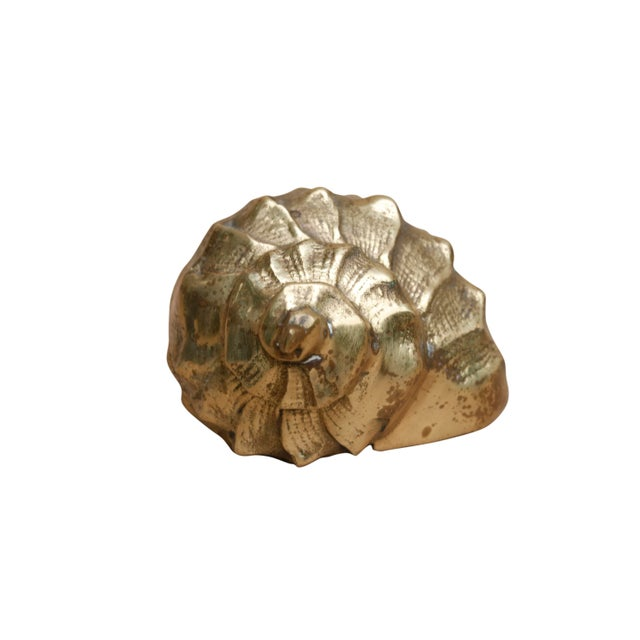 Boho Chic Hollywood Regency Style Brass Conch Shell For Sale - Image 3 of 6
