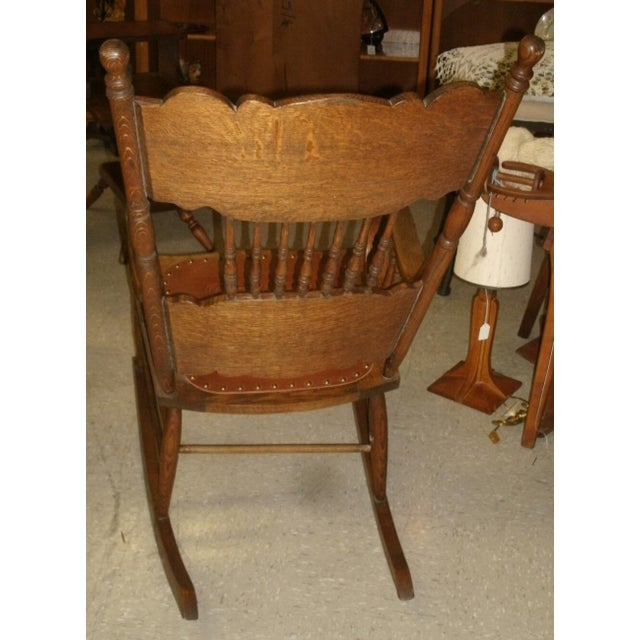 Wood Antique Larkin Soap Company Ribbon Back Oak Rocking Chair For Sale - Image 7 of 13