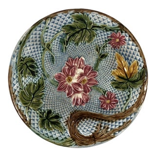 Majolica Diamond Floral Design Ceramic Plate
