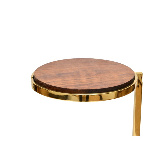 Personal Brass with Wooden Top Side Table - Image 5 of 9