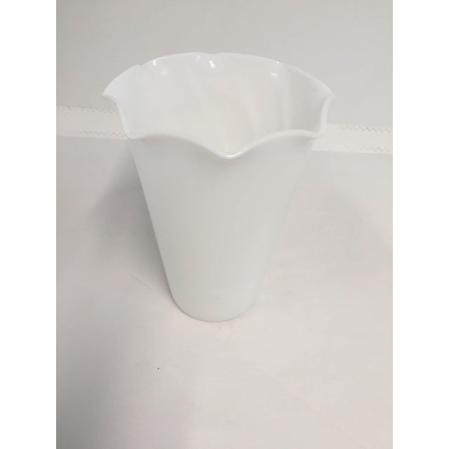 Midcentury Milk Glass Vase For Sale - Image 5 of 5
