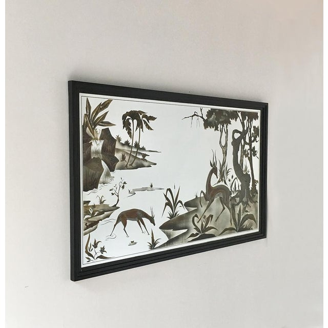 Framed Eglomise Glass Sculptural Wall Panel Circa 1960 For Sale - Image 6 of 6