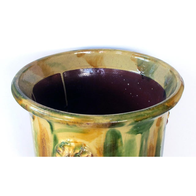 French Anduze Style Drip-Glazed Pottery Garden Urn For Sale - Image 4 of 6