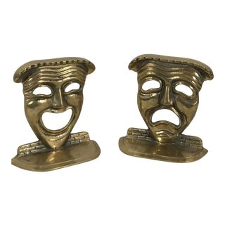 1970s Traditional Solid Brass Comedy Tragedy Masks Bookends - a Pair