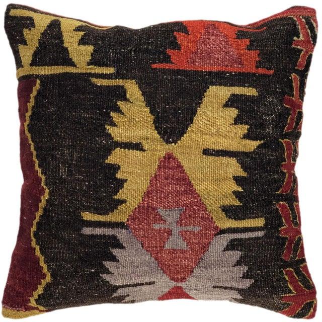 "Mid-Century Modern Rich Tones Vintage Kilim Pillow | 16"" For Sale - Image 3 of 3"