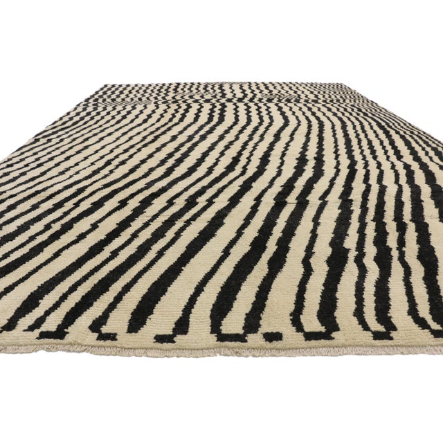 Abstract Expressionism Contemporary Moroccan Area Rug- 10′3″ × 13′10″ For Sale - Image 3 of 10