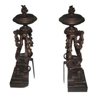 Flame Finial Ornate Bronze Andirons - A Pair For Sale