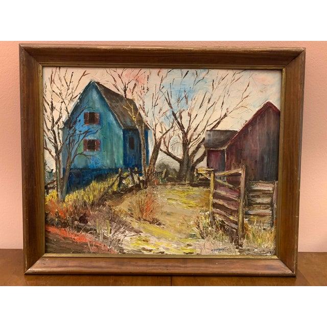 Blue Mid-Century Modern Farm and Barn Original Oil Painting on Board Signed For Sale - Image 8 of 8