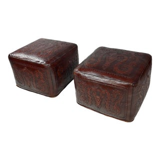 Vintage Embossed Leather Mid Century Poufs Ottomans -A Pair For Sale