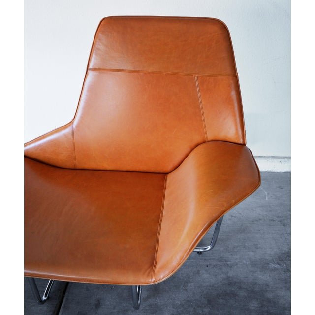 Brown Modern Leather and Chrome Chaise Lounge Chair by Mark David Design For Sale - Image 8 of 13
