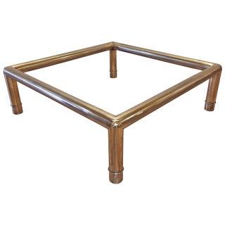 Hollywood Regency Mastercraft Brass Tubular Coffee Table / Oriental Chinoiserie For Sale