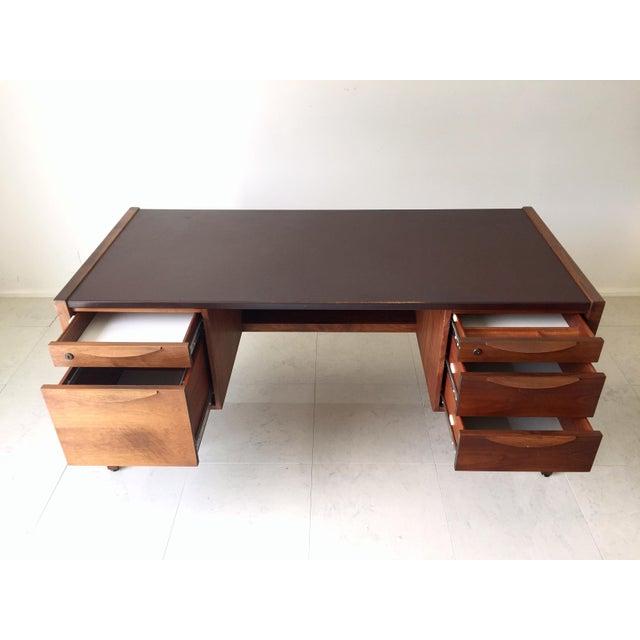 Jens Risom Leather-Topped Walnut Desk - Image 4 of 8