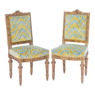 19th C. French Giltwood Side Chairs - a Pair For Sale