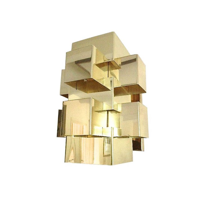 C. Jere Geometric Brass Cubist Wall Sconce - Image 1 of 3