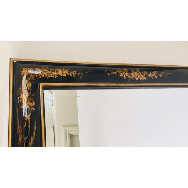 Chinoiserie Black And Gold Framed Rectangular Wall Mirror Chairish
