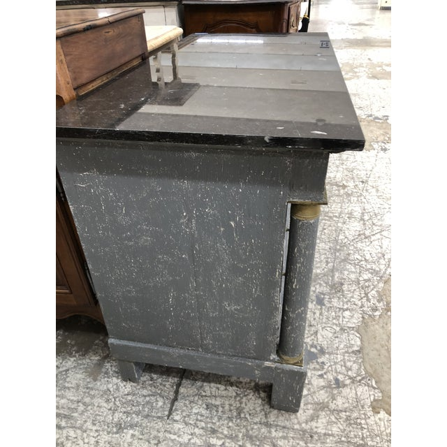 Shabby Chic 1870s Painted French Empire Marble Top Commode For Sale - Image 3 of 8