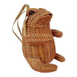 Boho Chic Woven Wicker Frog Planter Purse For Sale