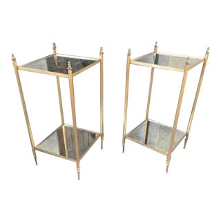 Maison Jansen Two Tiers Neoclassic Side Tables With Eglomisé Mirror Shelves For Sale