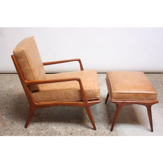 M. Singer & Sons Italian Modern Carlo De Carli Walnut and Leather Lounge Chair and Ottoman For Sale - Image 4 of 13