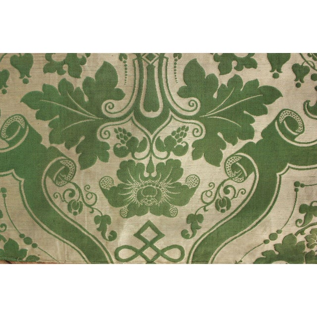 Antique French Green Silk Brocatelle Bed Curtain Hanging W/ Trim Brocade For Sale - Image 6 of 9
