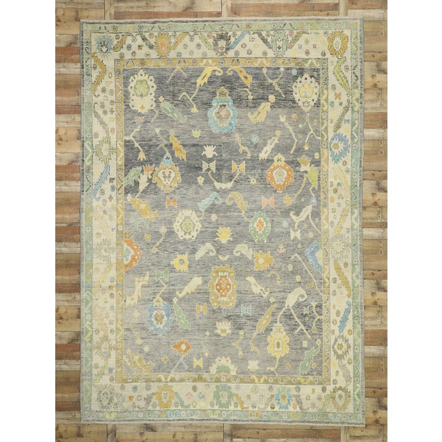Gray Contemporary Turkish Oushak Rug - 09'09 X 13'07 For Sale - Image 8 of 10