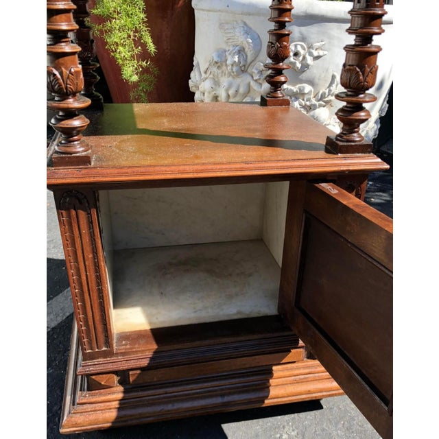 Antique Old Paris Apartment Carved Mahogany Night Stand or End Table