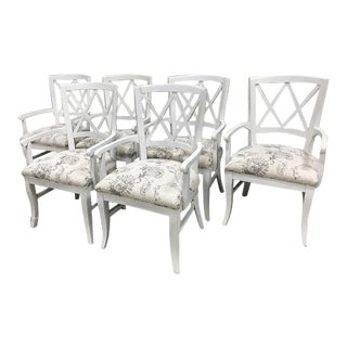 Designer White Chic Lattice Back Dining Chairs - Set of 6