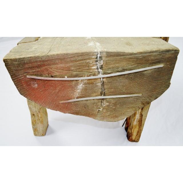 "Wood Antique Primitive ""Petrified"" Wood Log Bench For Sale - Image 7 of 13"