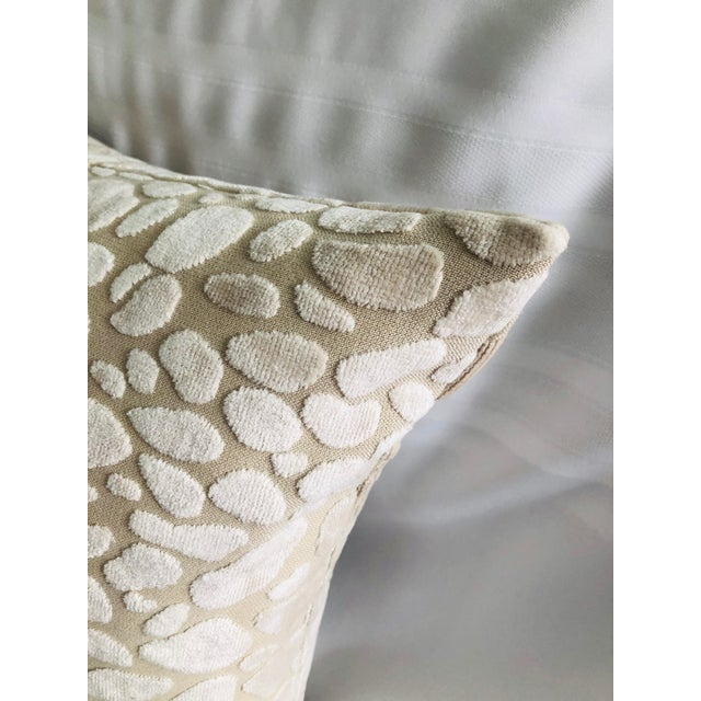Contemporary Modern Chalk Leopard Velvet Feather Down Accent Pillow, Custom Made For Sale - Image 3 of 6